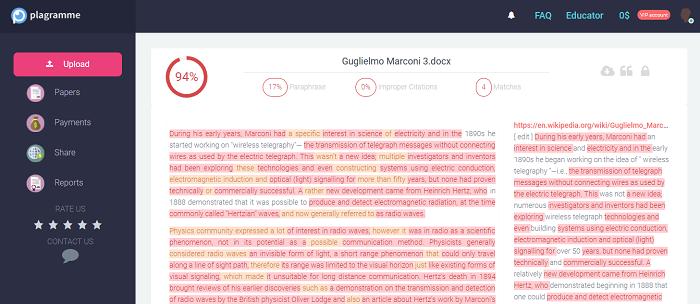 Plagramme plagiarism report
