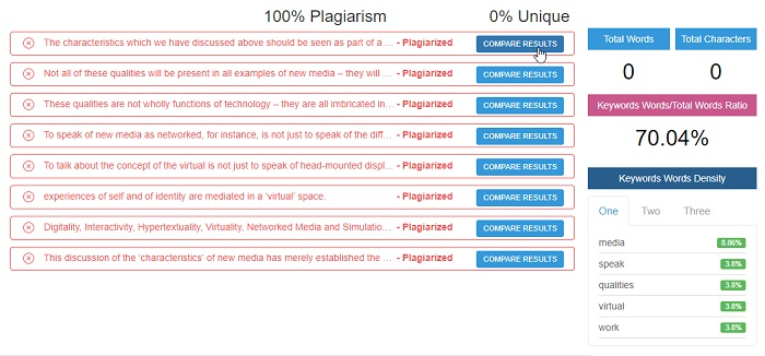 Plagiarism Software interface